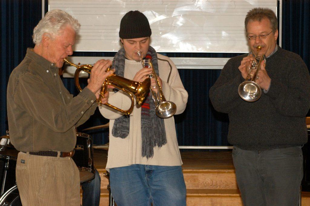 Ack van Rooyen, Florian Sperzel, Horst Koller (+) bei einem Workshop mit anschließendem Konzert.